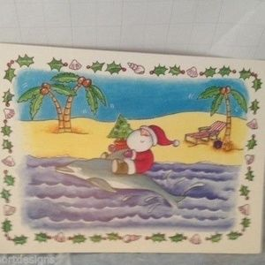 Santa Claus Palm Trees Christmas Cards Set of 12